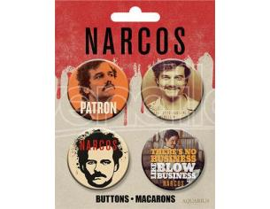 AQUARIUS ENT NARCOS PABLO BUTTONS 4 PACK SPILLA